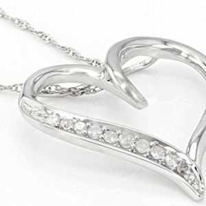 Diamond & Rhodium Plated Sterling Silver Necklace